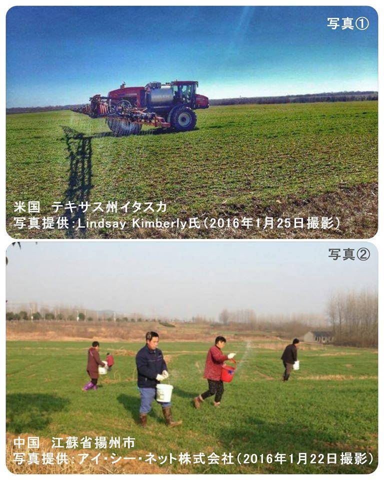 各地の農薬散布の様子
