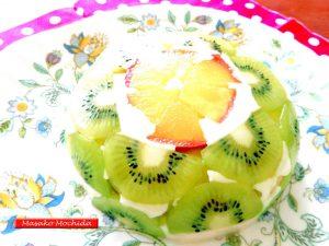 煮リンゴとキウイフルーツの即出来豆乳スプリングケーキ.j